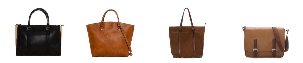 Los dos primeros bolsos: Nueva Colección Mujer de www.pullandbear.com tipo Bowling y Capazo. Los dos últimos: Bolsos Nueva Colección Hombre de www.zara.com tipo Shopper y Bandolera
