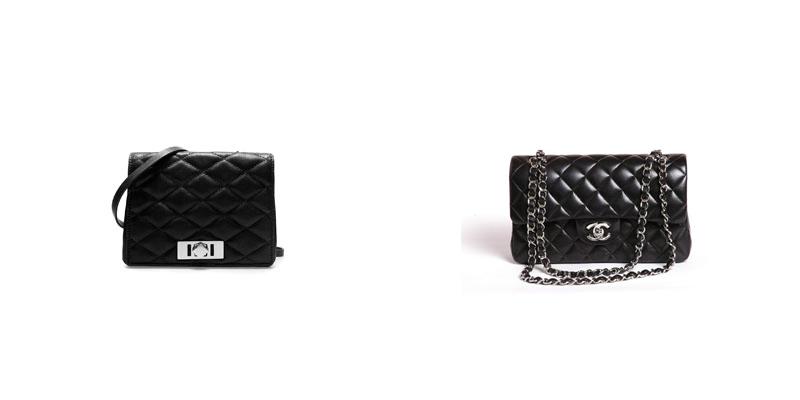 Izquierda: Bolso de la nueva Colección de Zara mujer. Comparado a la Derecha con: 2.55 de Chanel del que hablamos en la primera parte de la entrada. (www.zara.com)