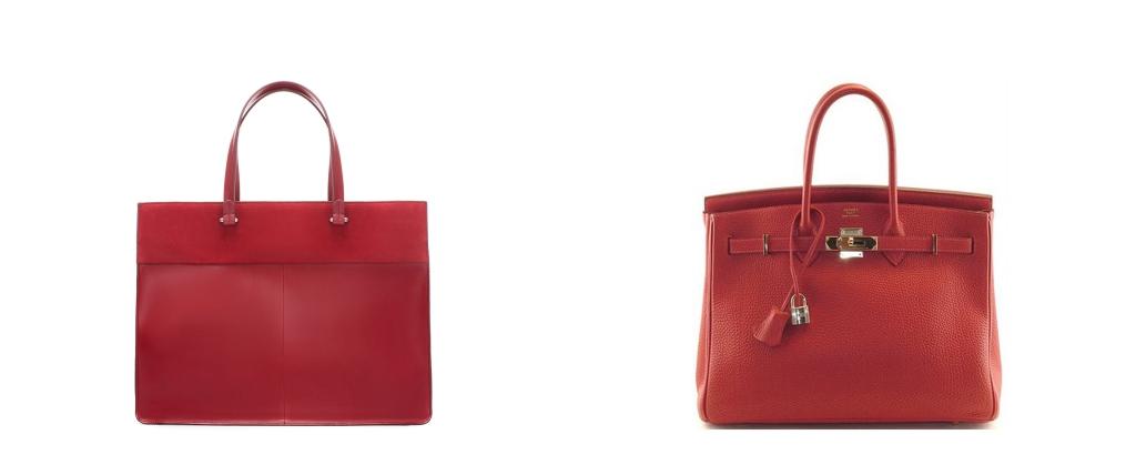 Izquierda: bolso de la nueva Colección de Zara mujer. Comoparado a la Derecha con: Birkin Hérmes del que hablamos en la primera parte de la entrada. (www.zara.com)