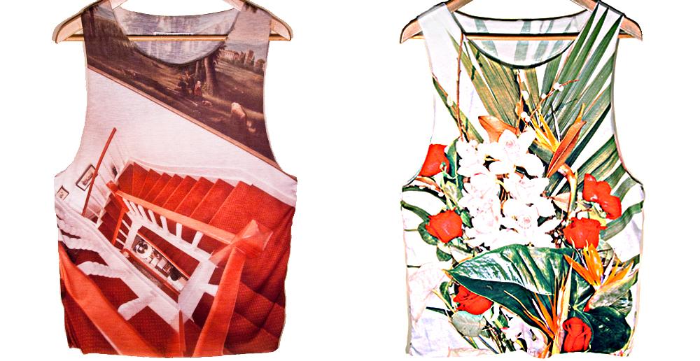 Camisetas con estampados de escaleras y vegetales (www.smoooothclothing.com).