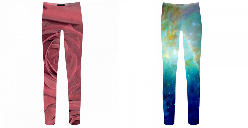 Leggings con estampados de Rosas y glaxias (www.smoooothclothing.com).