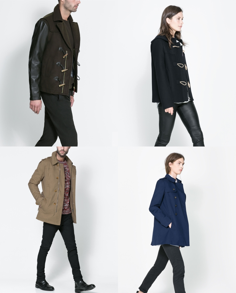 Diferentes modelos más cortos de Trenkas y Trenchs de las Colecciones Mujer y Hombre. (www.zara.com).