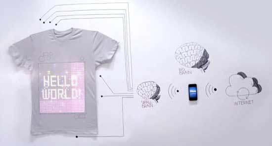 """Camiseta """"T-shirt OS"""". diagrama en el que se explica su funcionamiento. www.cutecircuit.com."""
