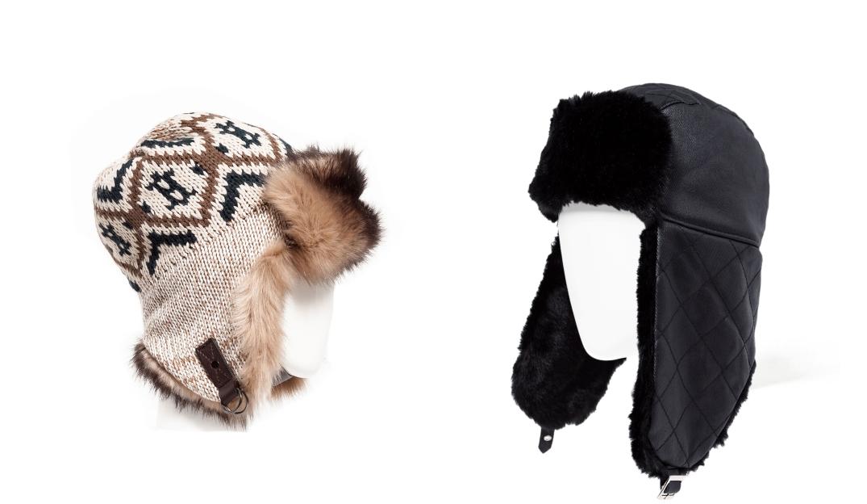 Diferentes modelos de gorro con orejeras para hombre de Zara. Fotografía de Zara.com.