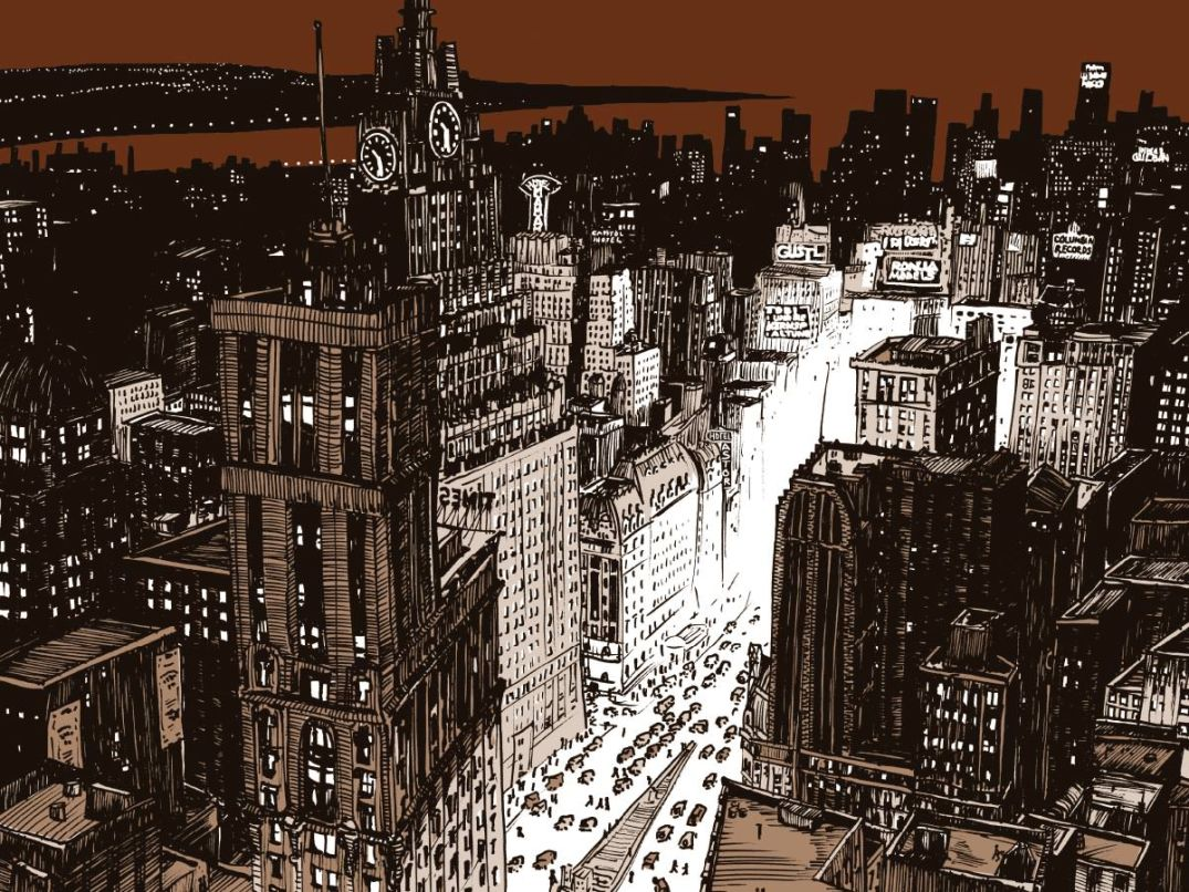 "Ilustración de ROBERT NIPPOLDT - New York At Night, scene featured in ""Jazz"". www.nippoldt.de"