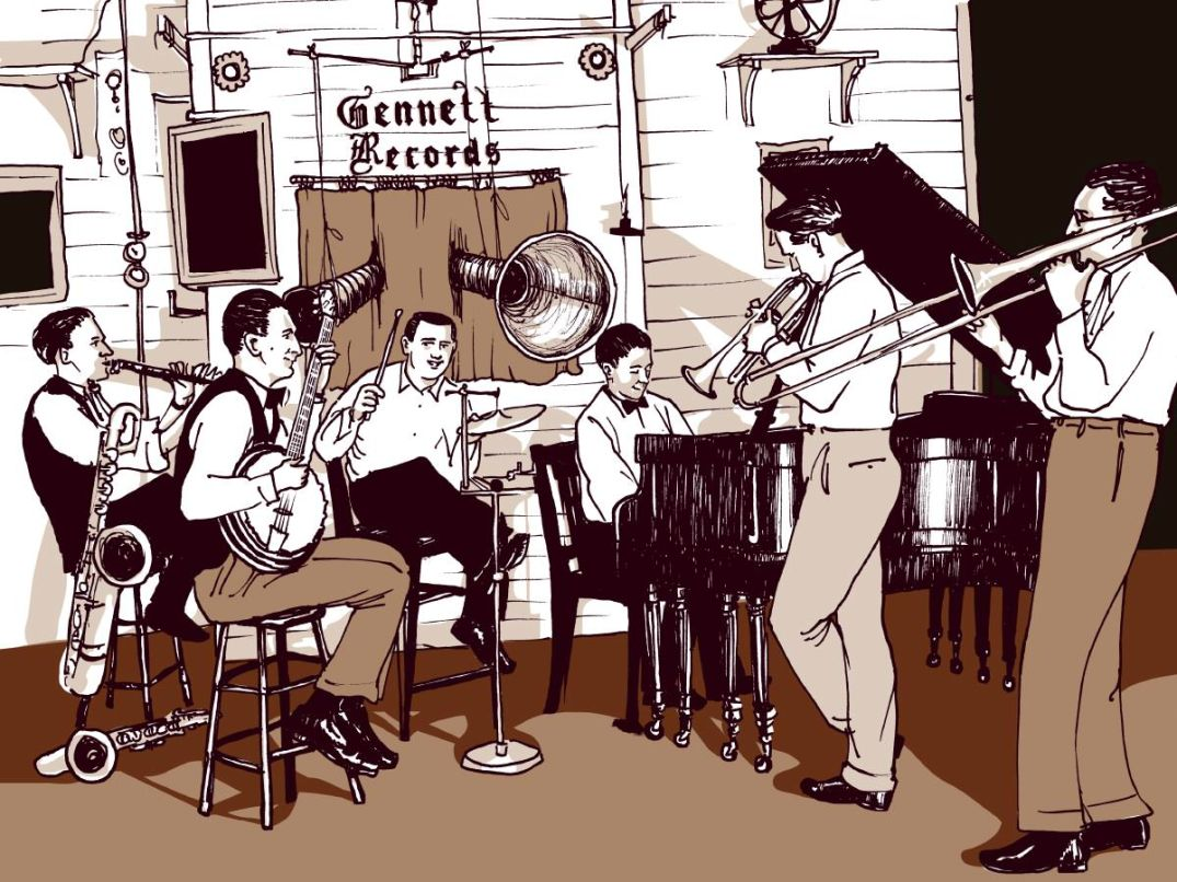 "Ilustración de ROBERT NIPPOLDT - Session, scene featured in ""Jazz"". www.nippoldt.de"