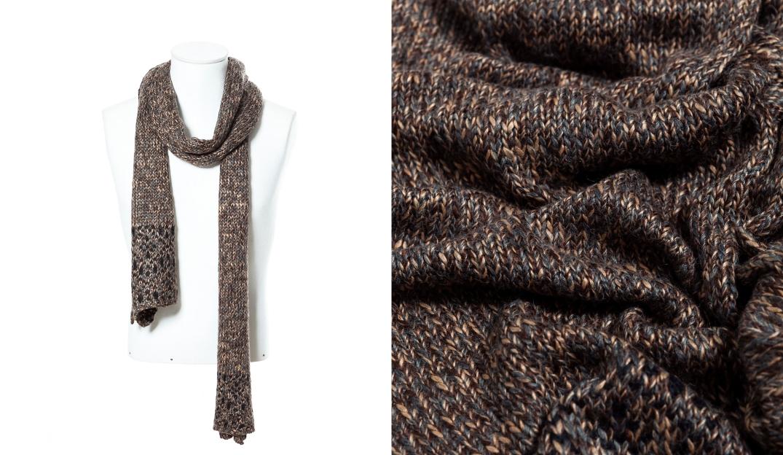 Bufanda marrón y detalle del tejido. Sección hombre de Zara. (zara.com)