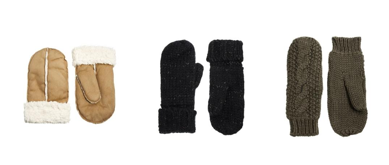 Modelos de manoplas de las secciones masculina y femenina. Izquierda piel de oveja de New Look, central y derecha de French Connection. (newlook.com / frenchconnection.com).
