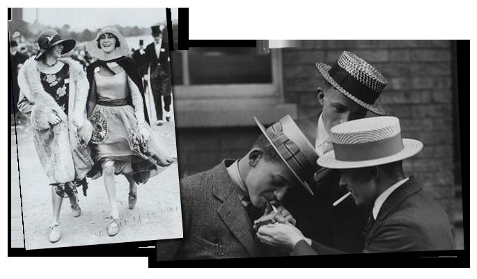 Mujeres y hombres con la moda de los 20. (www.gooring.com).