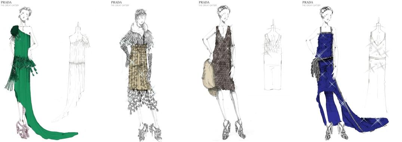 """Diseños que Prada realizó para la película """"The Great Gatsby"""" Inspirándose en la moda de los años 20. (www.prada.com)."""