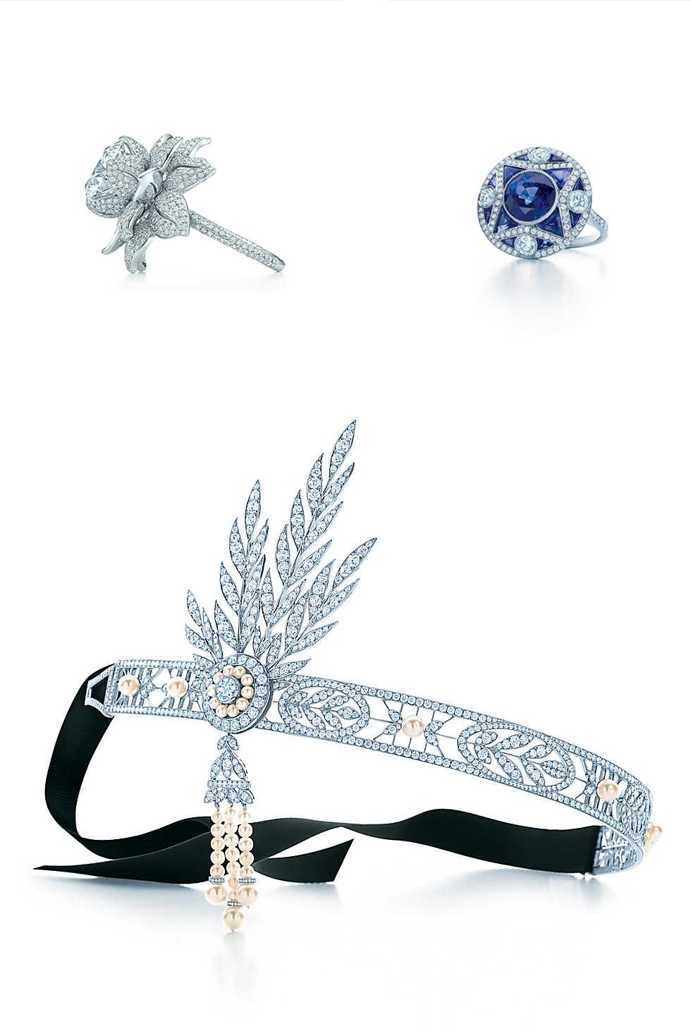 """Recreaciones de Tiffany & Co. Para """"The Great Gatsby"""". Anillos: Flor de Diamantes (Izq.) y Zafiro (drch.). Abajo: Savoy Headpiece. (www.tiffany.com)."""