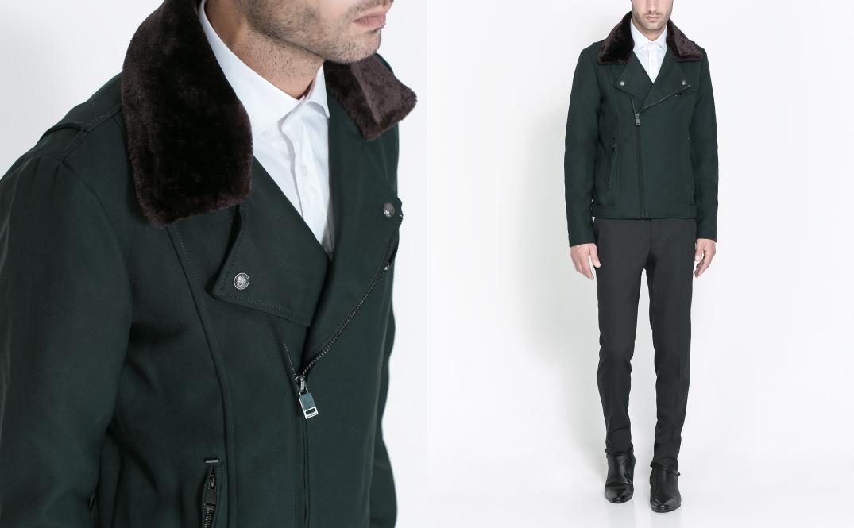 Combinación de camisa con chaqueta motera de cuello pelo eliminando la americana - Fotografía de Zara.com