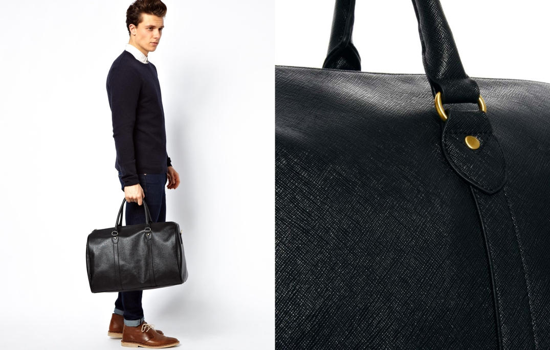 Barrel Bag de piel en negro de Asos.com
