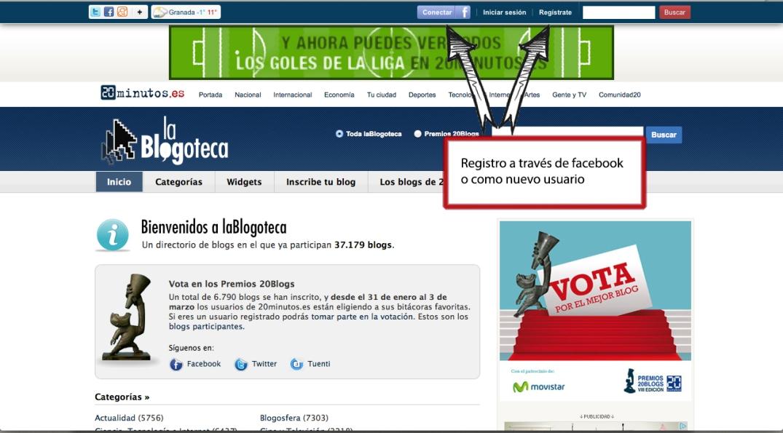 Opciones de registro en la página de 20minutos, a través de Facebook o como nuevo usuario.