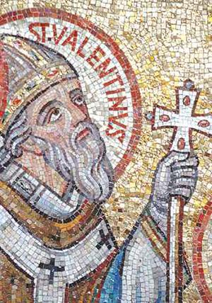 Detalle del rostro de San Valentín en un mosaico