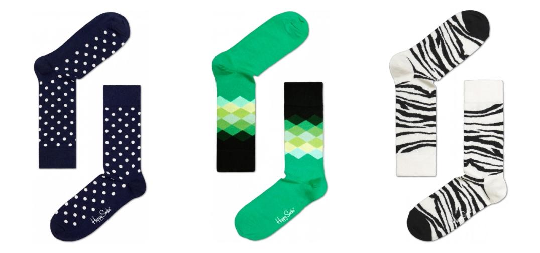 Diferentes modelos de la marca Happy Socks, estampados de topos, geométrico y animal print