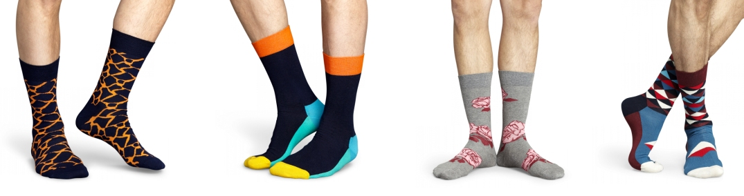 Diferentes modelosd de Happy Socks con animal prints, geométricos y vegetales