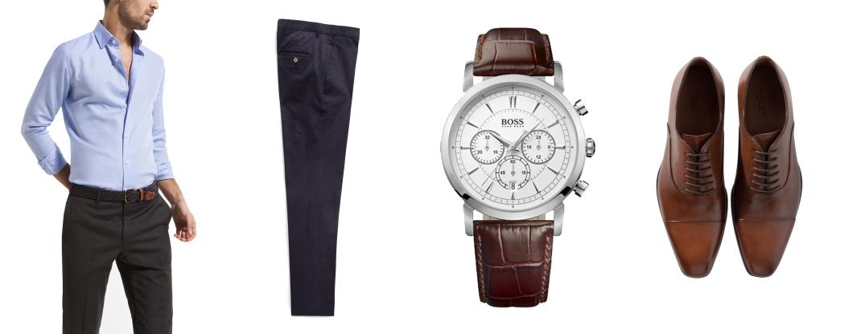 Camisa de falso liso fit de Massimo Dutti. Pantalón chino de HebyMango. Reloj de esfera redonda y correa de piel de cocodrilo. Zapatos con corte inglés de Zara.