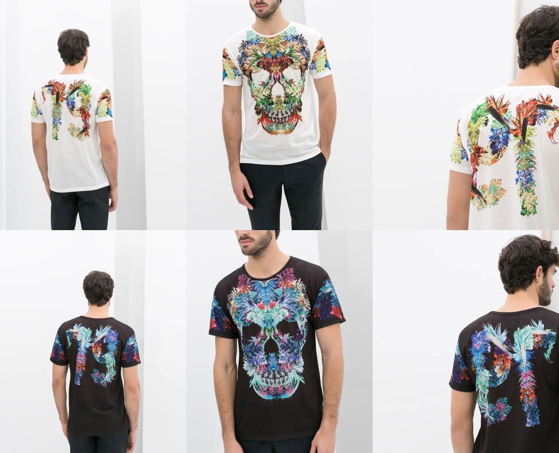 Camisetas estampadas de Zara dibujando una calavera.