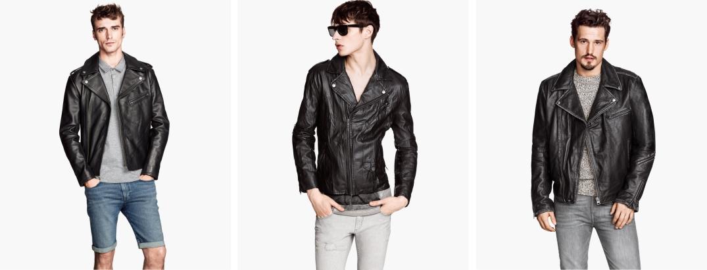 Extremos chaquetas de piel tipo motera con cremallera diagonal (Derecha tipo vintage) Central chaqueta de piel Sintética de H&M.