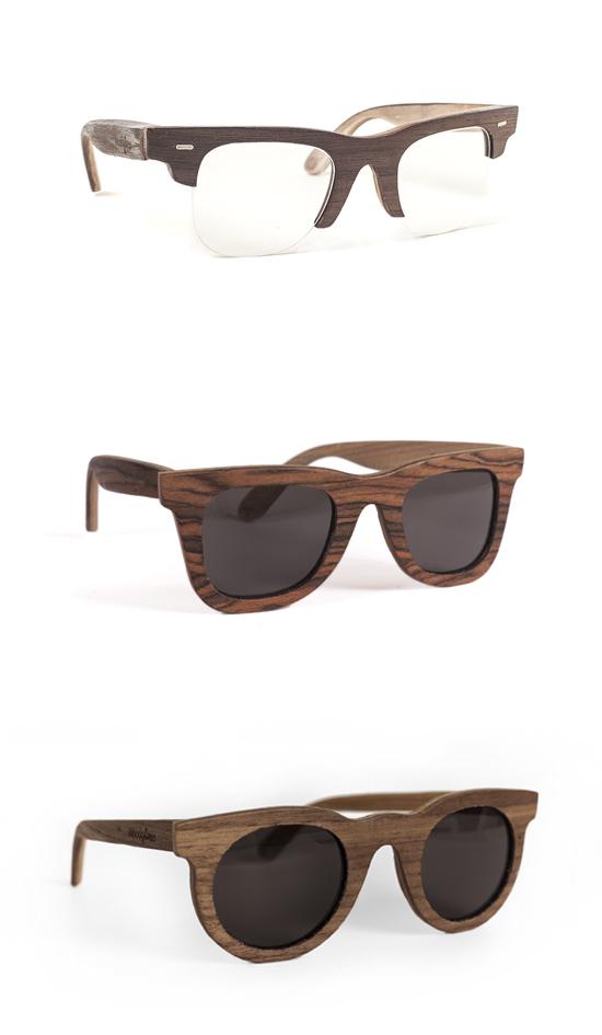 Gafas de Woodglass de nogal, palisandro y arce con un corte clásico