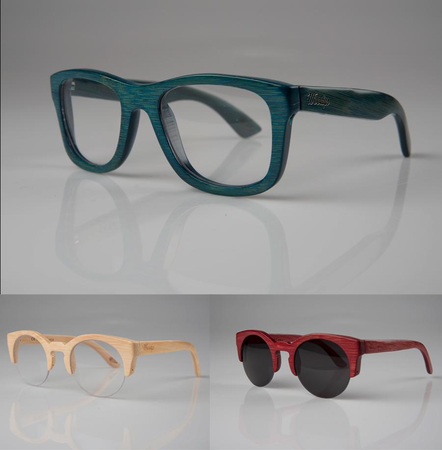 Gafas de Woodys en Bamboo policromadas en azul, color natural y rojo