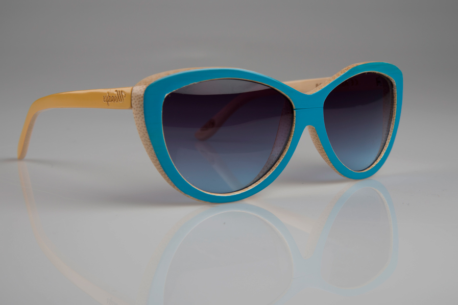 Gafas de Woodys en Bamboo policromadas en azul y amarillo