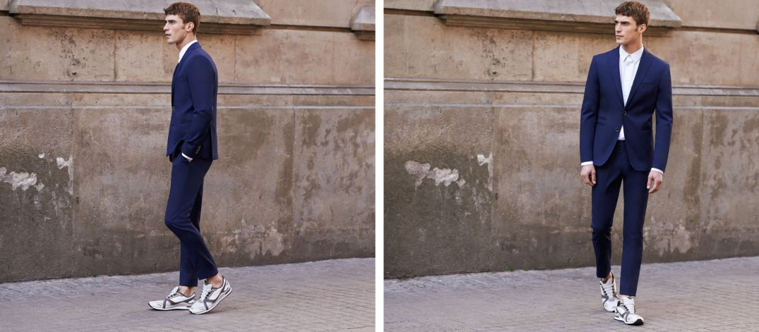 Look Book de Zara combinando un traje con calzado deportivo We Love It