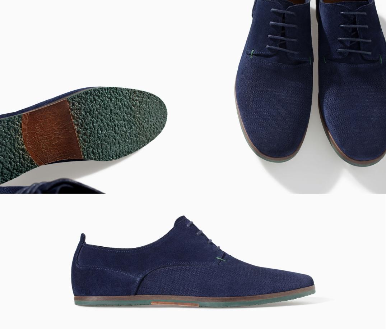 Zapato Slim Piel grabado en tonos azules con la suela en verde cicuta de Zara