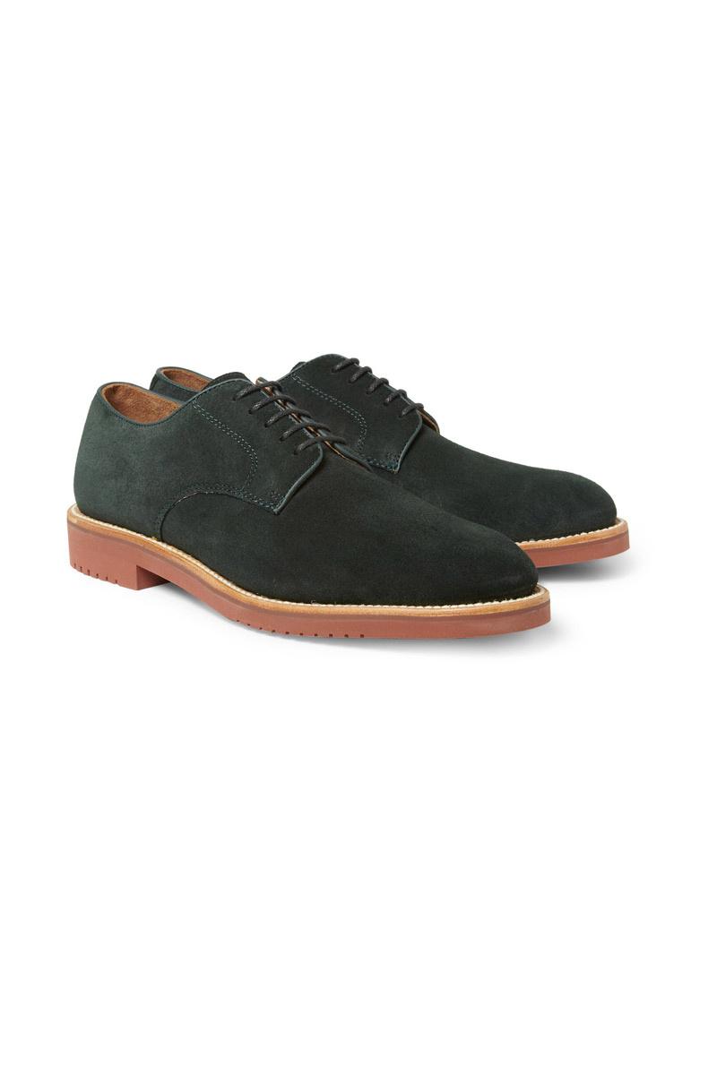 Zapatos de J. Crew en ante verde cicuta con la suela en teja de goma
