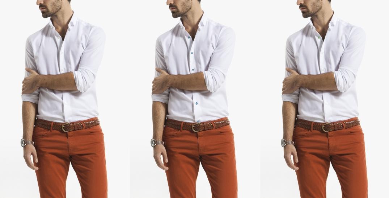 Camisa básica blanca de Massimo Dutti (Izquierda color original.