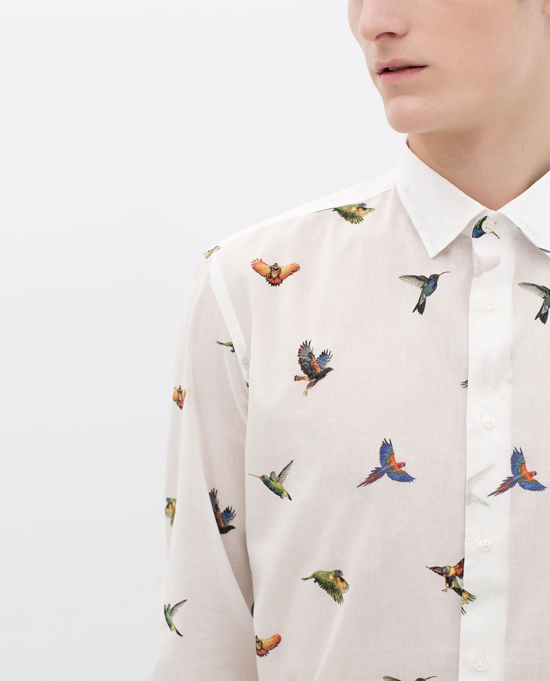 Camisa estamapada con pájaros tropicales de Zara