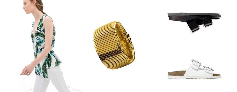 Top cruzado con estampado tropical de Zara, Brazalete de oro de Aristocrazy y Sandalias Bio de Zara.