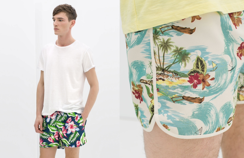 Bañadores con estampado tropical de Zara