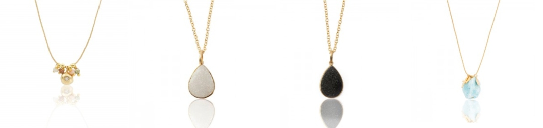 Collar Mahalo Betty. Collar Druzy en blanco y negro. Collar Makai.
