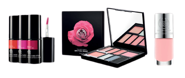 Pintalabios, sombras de ojos y esmalte de uñas de British Rose por The Body Shop.